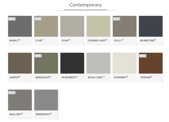colorbond contempory colour chart